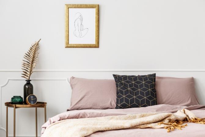 Gouden tinten in slaapkamer