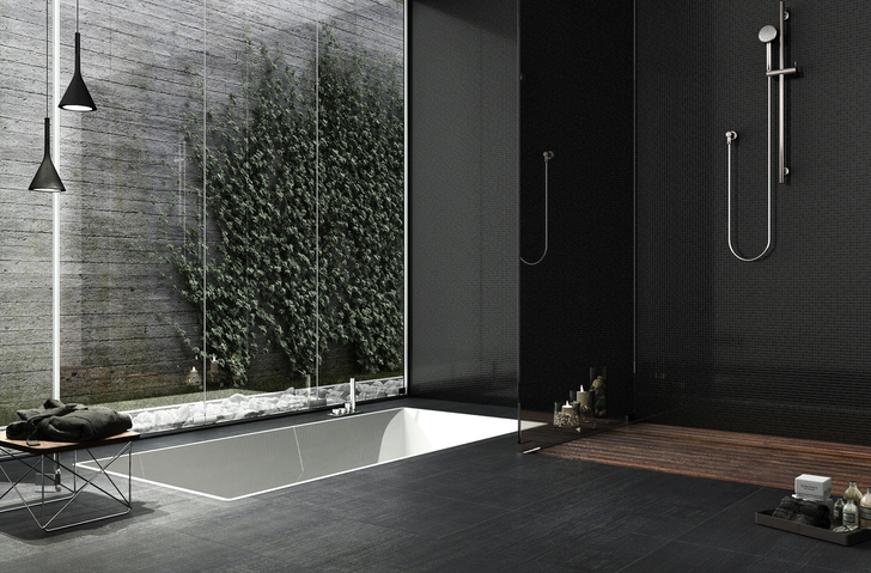 donkere badkamer in combinatie met natuurlijke materialen